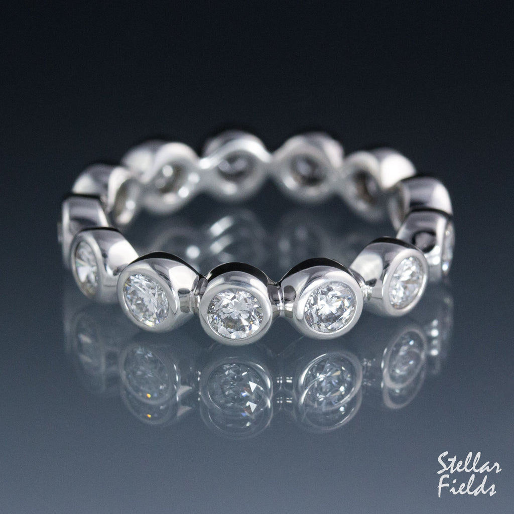 Diamond Eternity Wedding Band Bezel Set Ring Platinum Canadian Diamond Stellar Fields Jewelry