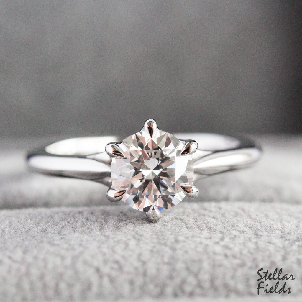 Diamond Solitaire Prong Engagement Ring 6 Prong Ring Modern Vintage Platinum Stellar Fields Jewelry