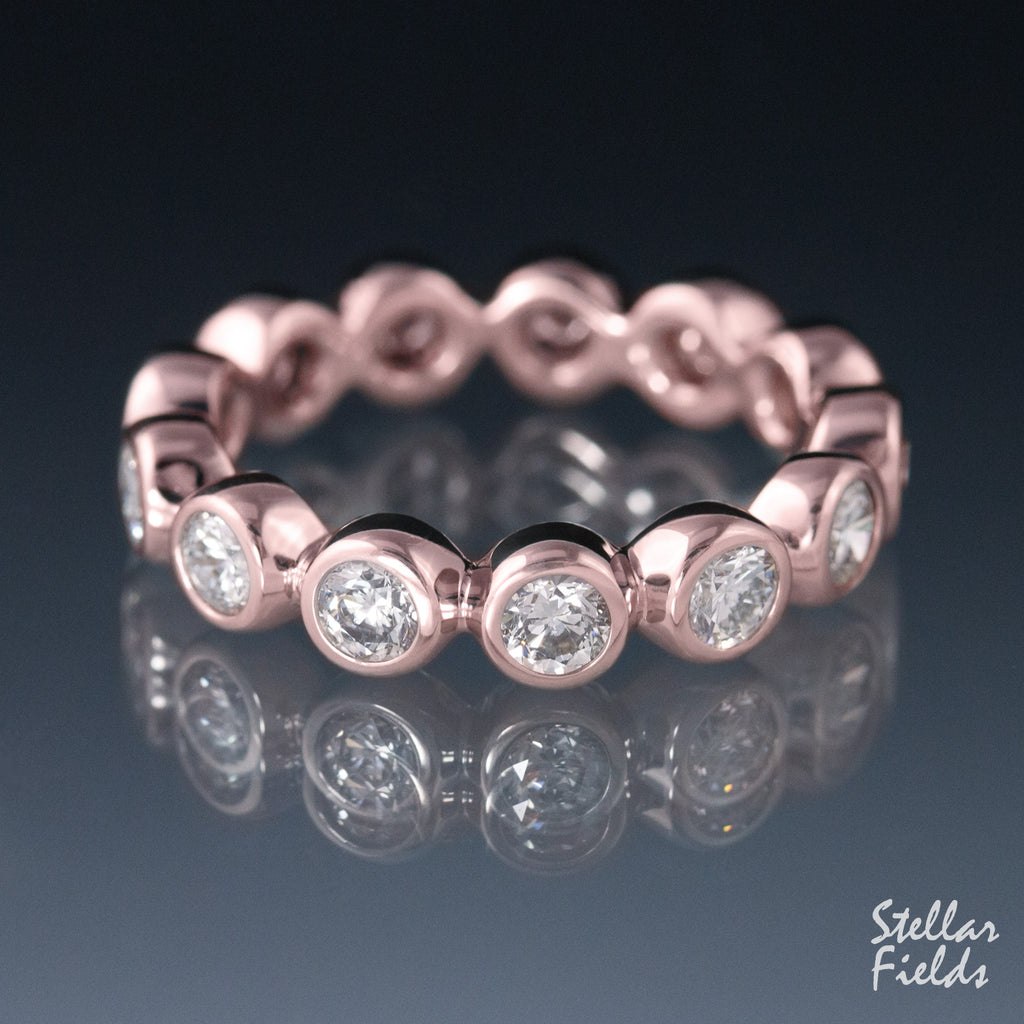 Eternity Wedding Band Bezel Set Diamond Ring 14k Rose Gold Stellar Field