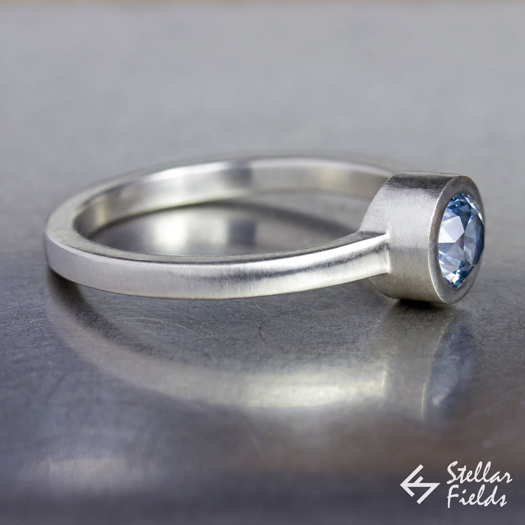 Ethical Blue Montana Sapphire Full Bezel Engagement Ring in 14k White Gold Platinum Stellar Fields Jewelry