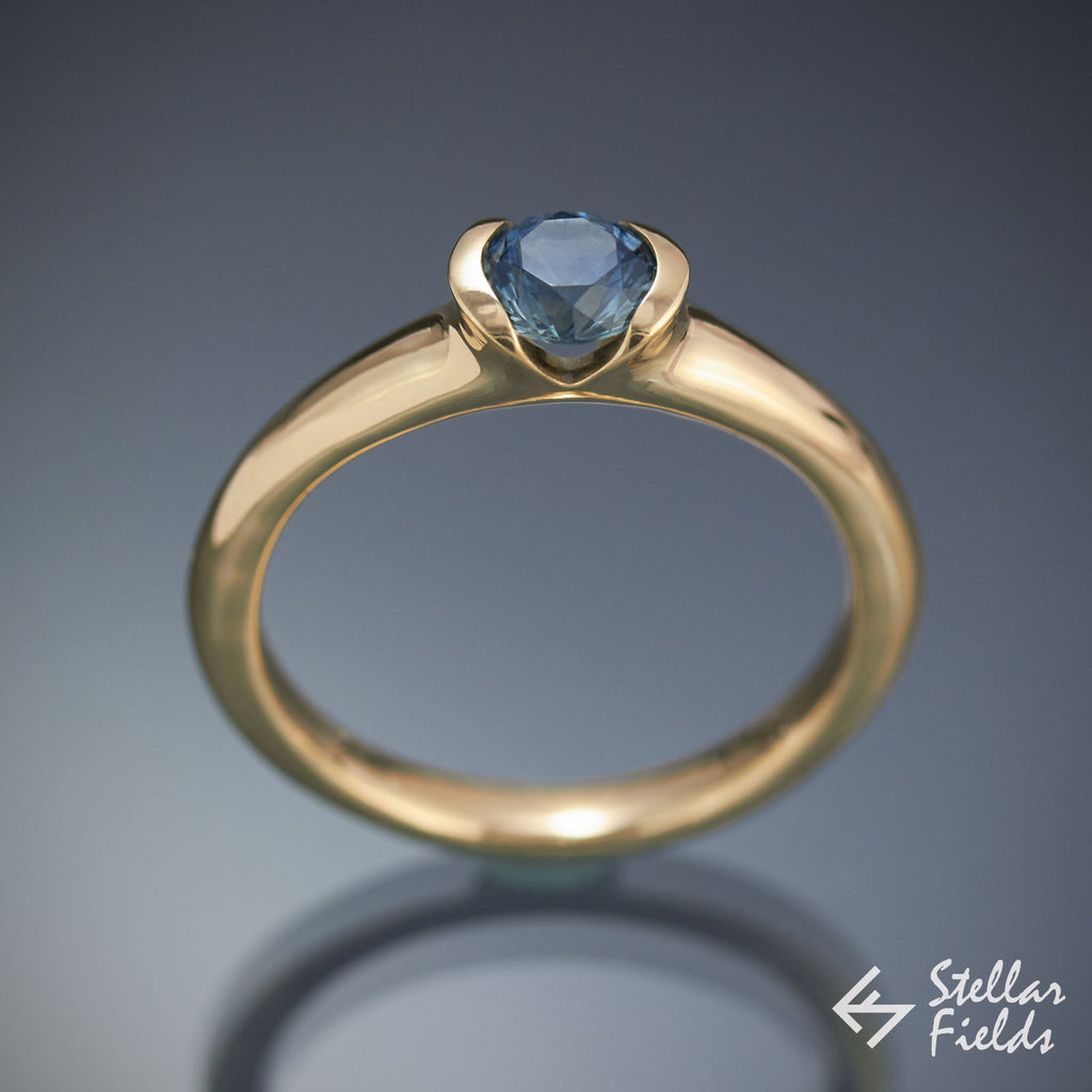 Blue Montana Sapphire Semi Bezel Engagement Ring Stellar Fields