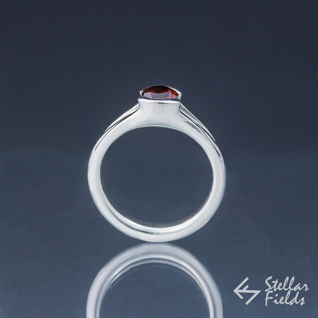 Red Garnet Tension Set Engagement Ring - Stellar Fields
