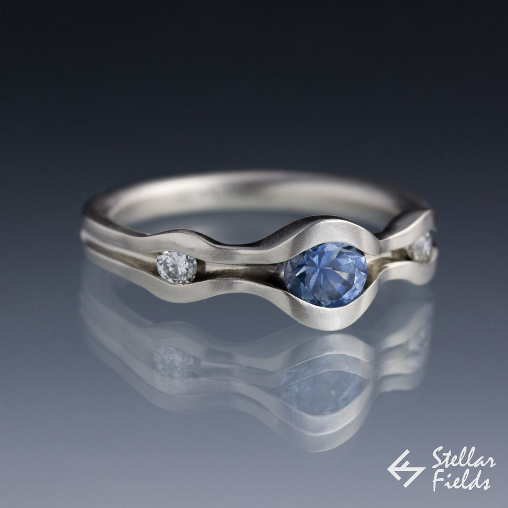 Blue Montana Sapphire Wave Engagement Ring White Gold Platinum Stellar Fields