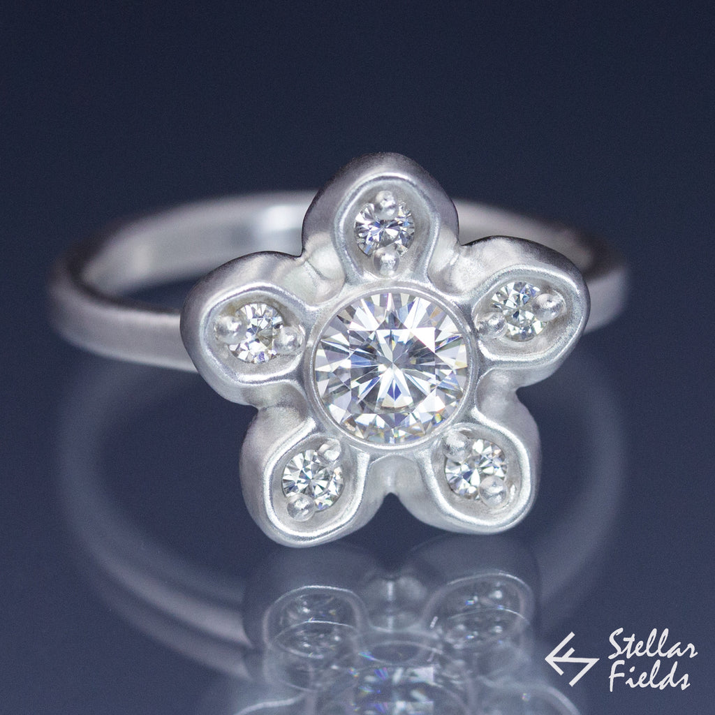 Round Forever Brilliant™ Moissanite Star Modern Bezel Engagement Ring - Stellar Fields
