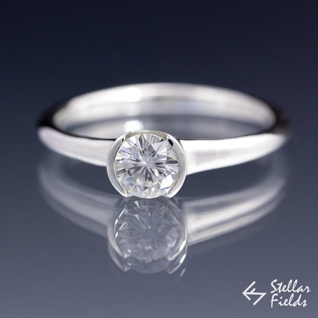 Forever Brilliant™ Round Moissanite Half Bezel Solitaire Engagement Ring - Stellar Fields
