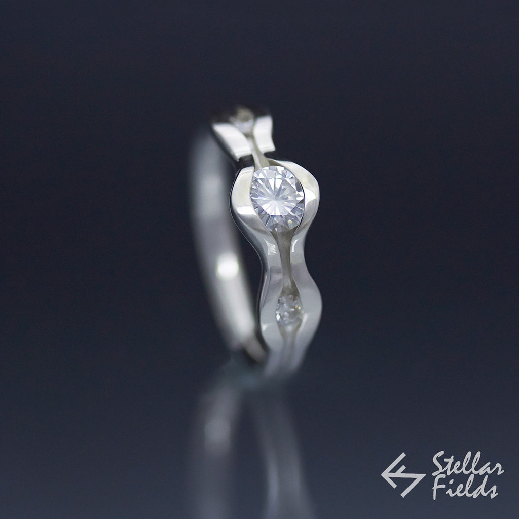 Three Stone Forever One™ Moissanite Wave Engagement Ring - Stellar Fields