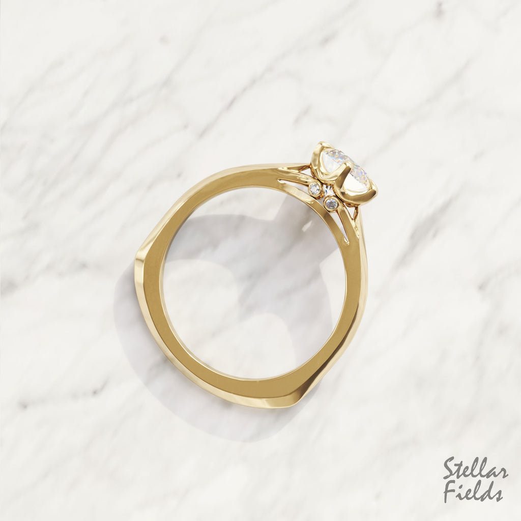 Lab Diamond Prong Engagement Ring Victorian Ring  Yellow Gold Stellar Fields