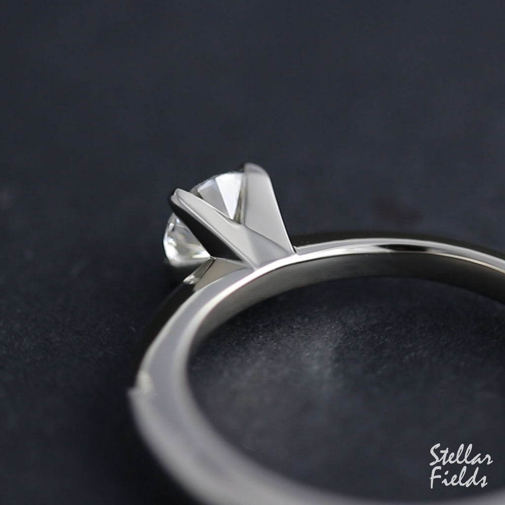 Modern Prong Diamond Engagement Ring Platinum Stellar Fields Jewelry