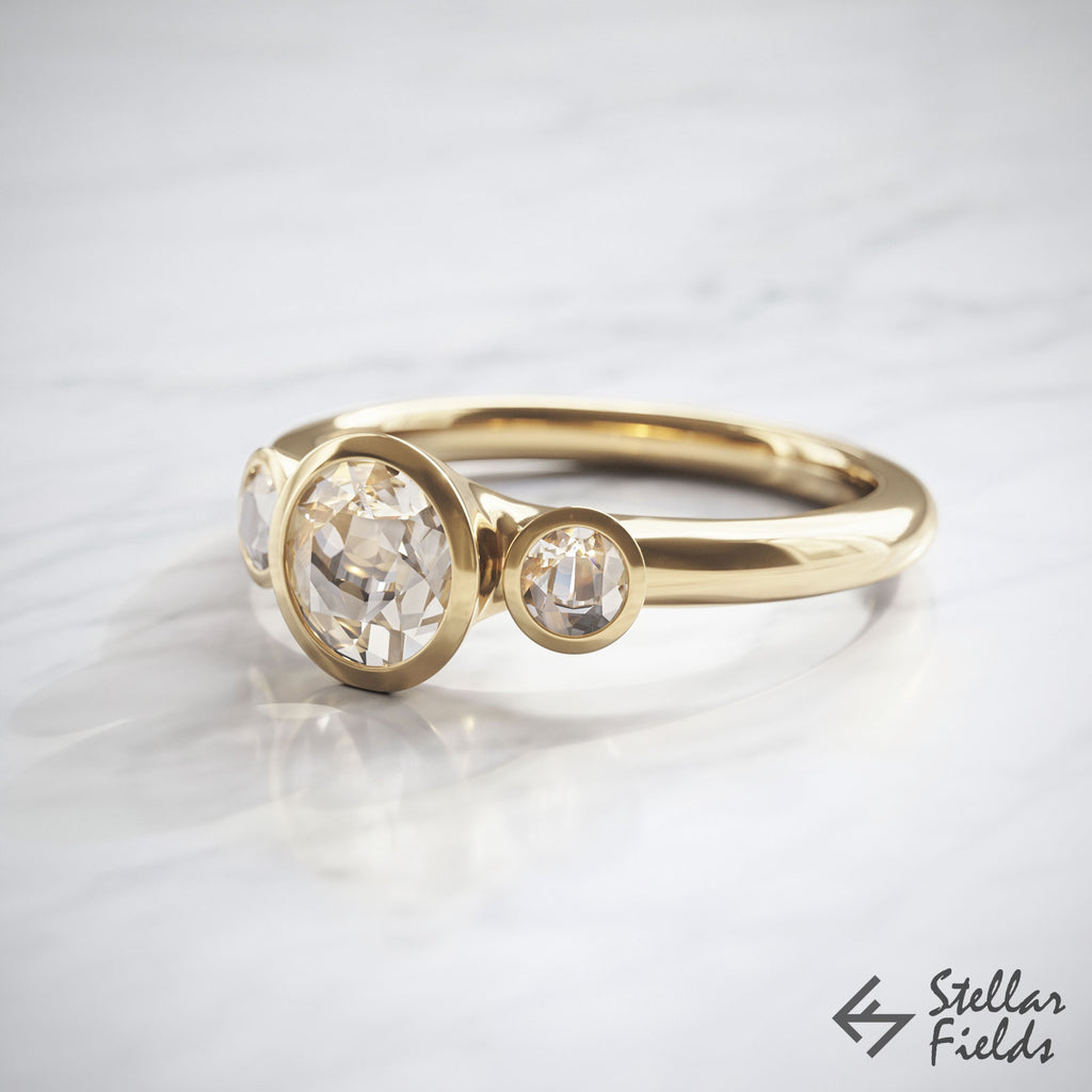 Modern Tri Stone Engagement Ring Unique Tapered Bezel Ring 14k Yellow Gold Stellar Fields Jewelry