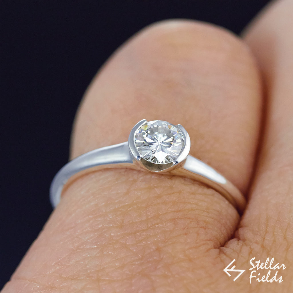 Semi Bezel Solitaire Forever One™ Moissanite Engagement Ring - Stellar Fields