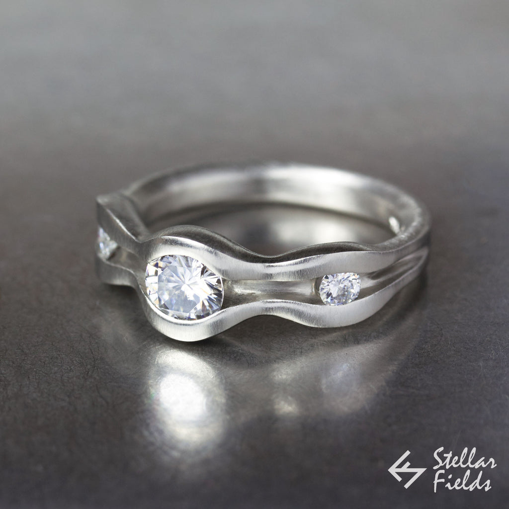 Moissanite Wave Engagement Ring White Gold Platinum