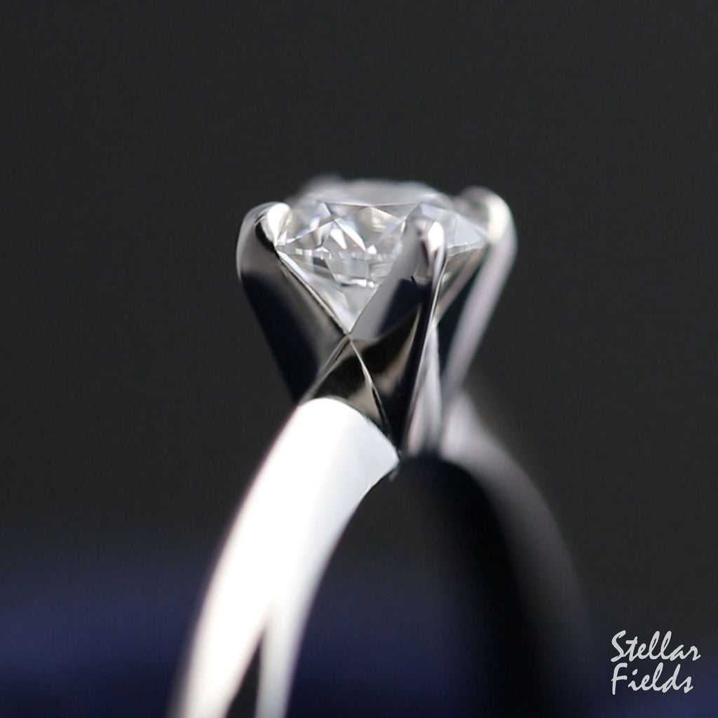 Moissanite Solitaire Engagement Ring Unique Handmade