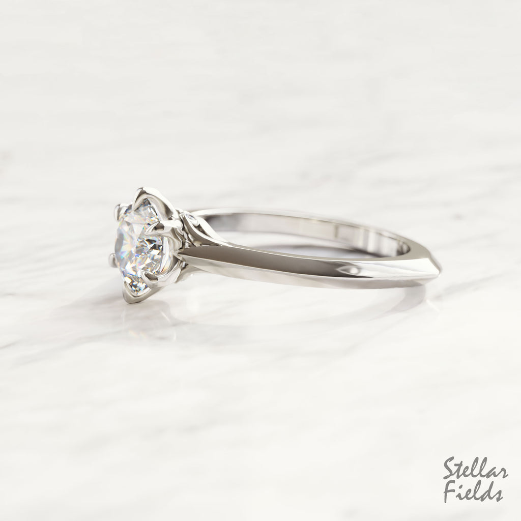 Moissanite Engagement Ring Forever One Moissanite Solitaire Ring Platinum Stellar Fields