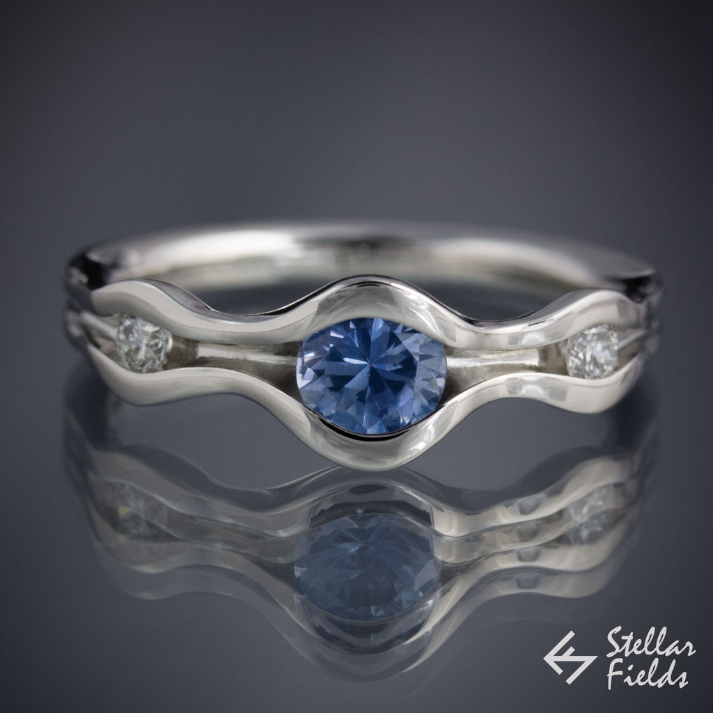 ditch featuring blue diamond the a alternative rings engagement purple colored stone