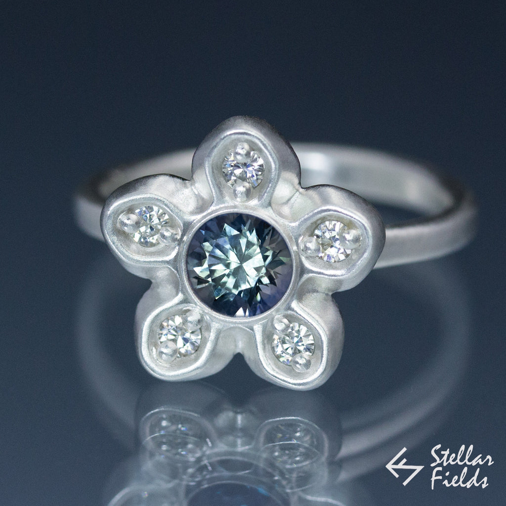 Green Montana Sapphire & Diamond Accents Star Engagement Ring - Stellar Fields