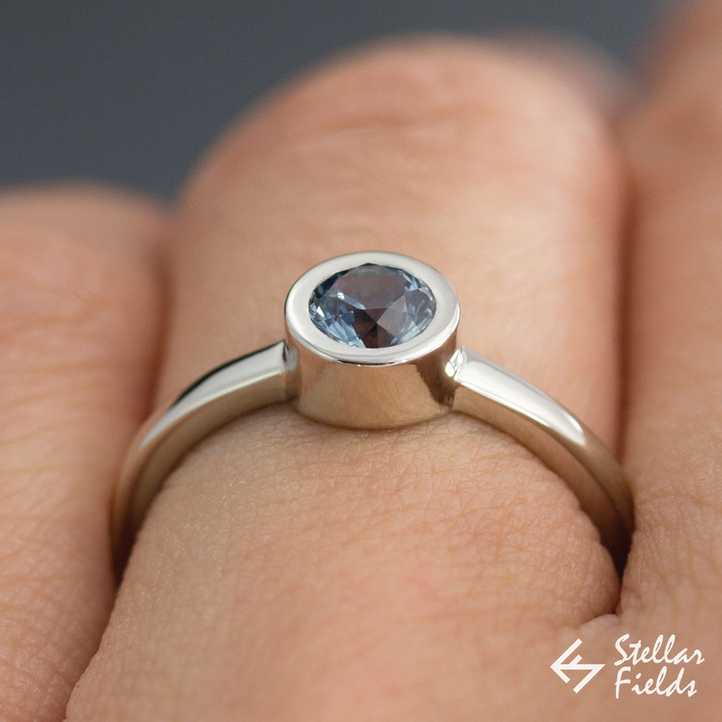 Ethical Montana Sapphire Minimal Bezel Set Engagement Ring in Sterling Silver 14k Gold Platinum Stellar Fields Jewelry