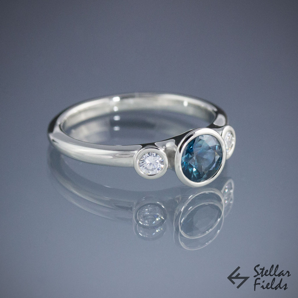 Montana Sapphire Bezel Engagement Ring Three Stone Bezel Ring Diamonds 18k White Gold Stellar Fields