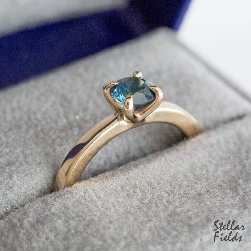Teal Blue Montana Sapphire prong engagement ring solitaire ring 14k gold Stellar Fields Jewelry