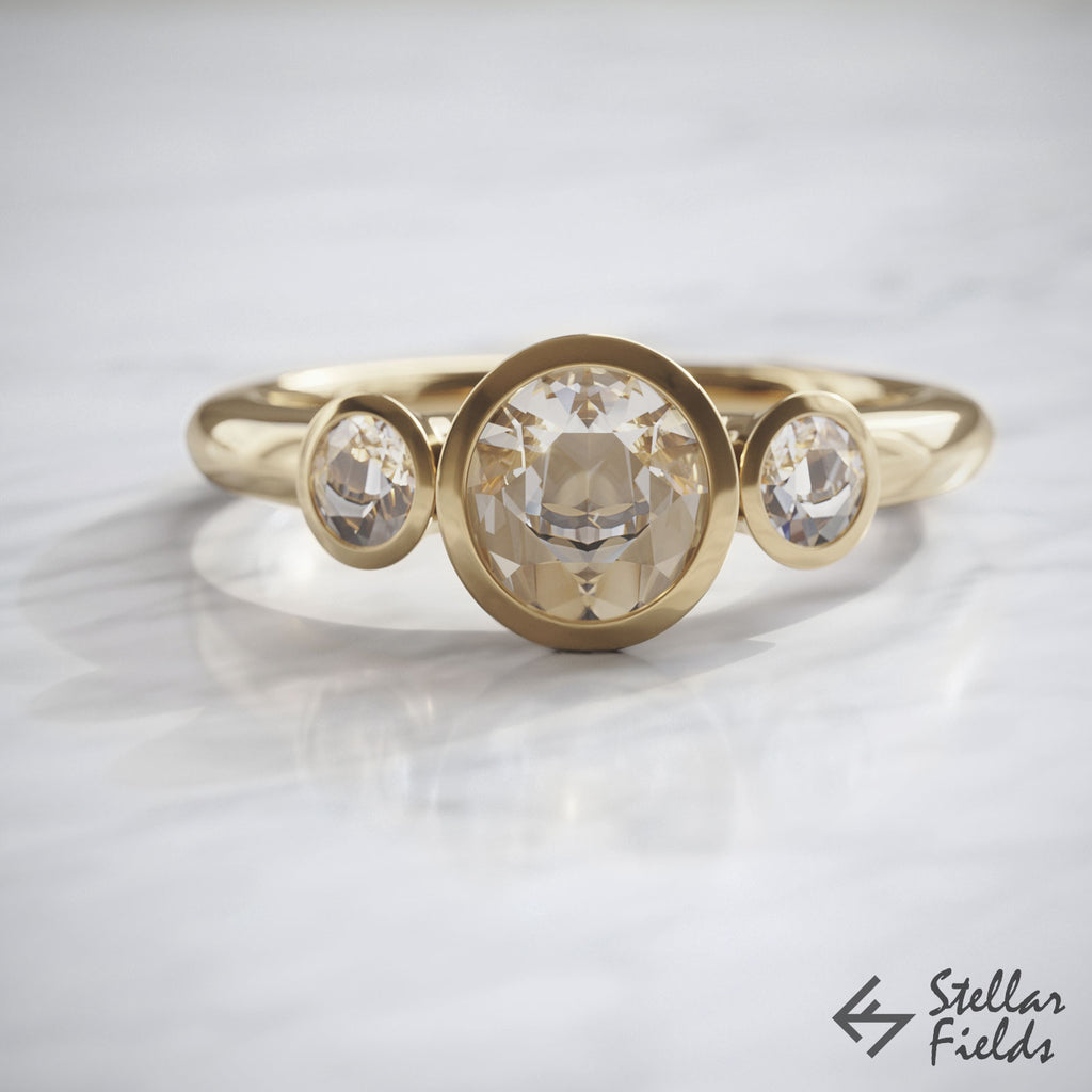 Multi Stone Bezel Engagement Ring Ethical Canadian Diamonds Bezel Ring 14k Yellow Gold Stellar Fields Jewellery