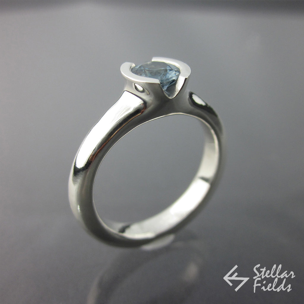 Fair Trade Blue Montana Sapphire Semi Bezel Engagement Ring - Stellar Fields