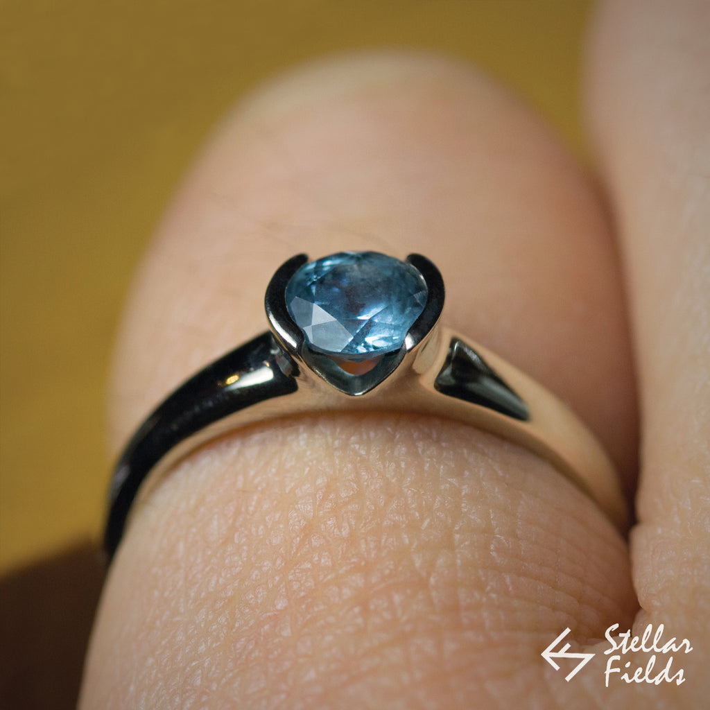 Blue Montana Sapphire Semi Bezel Engagement Ring - Stellar Fields