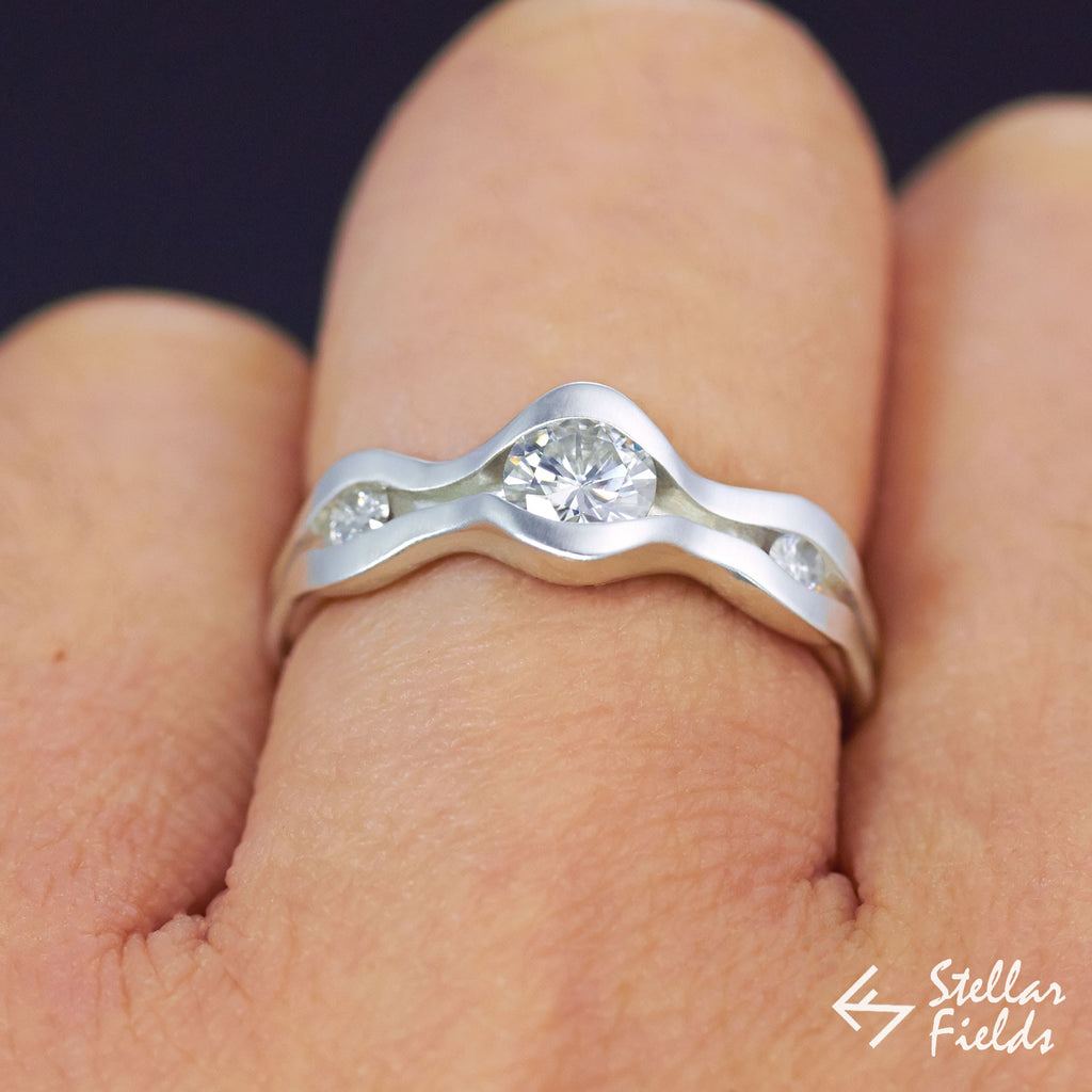 Triple Stone Round Diamond Channel Set Wave Engagement Ring 14k White Gold Platinum