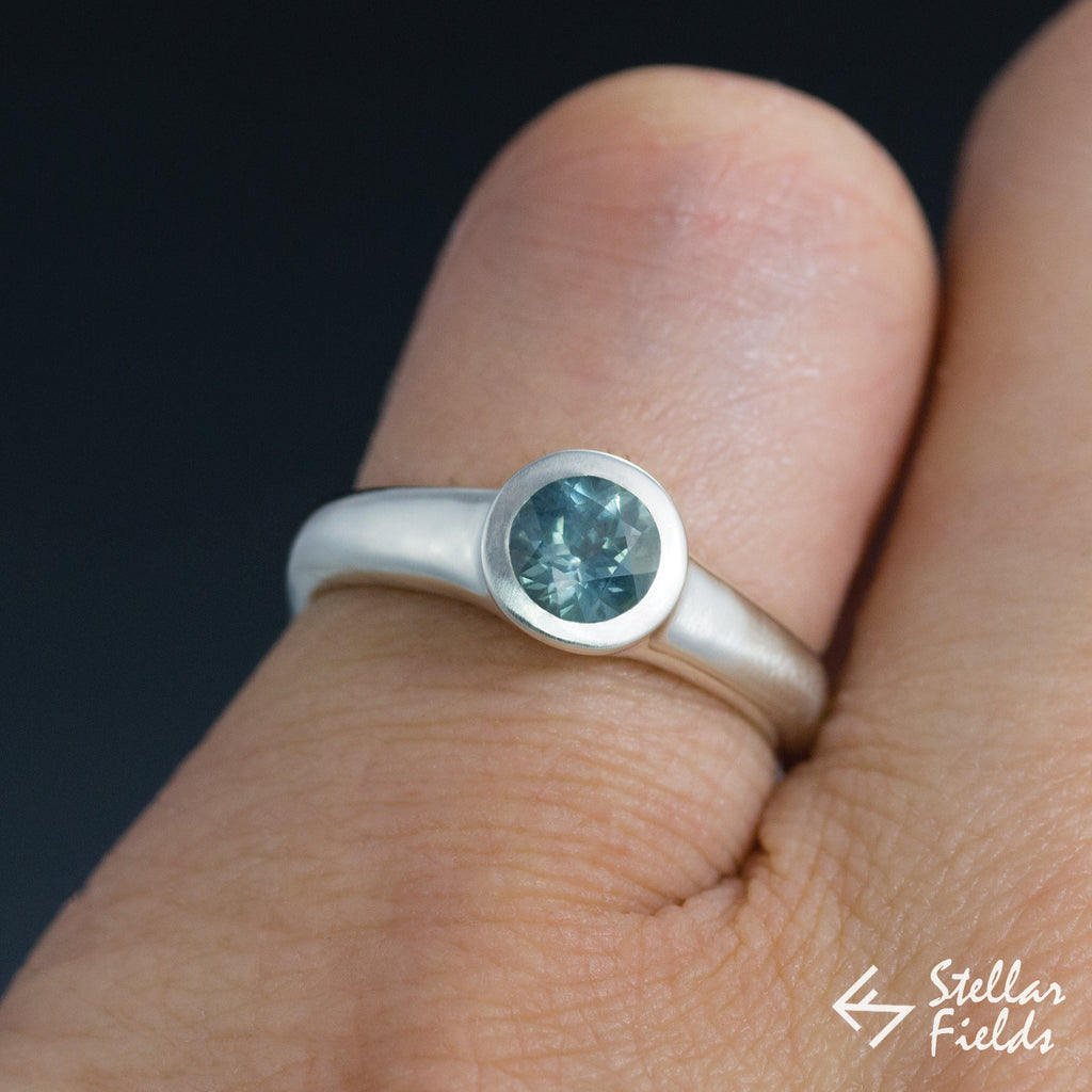 Fair Trade Green Montana Sapphire Round Bezel Engagement Ring - Stellar Fields