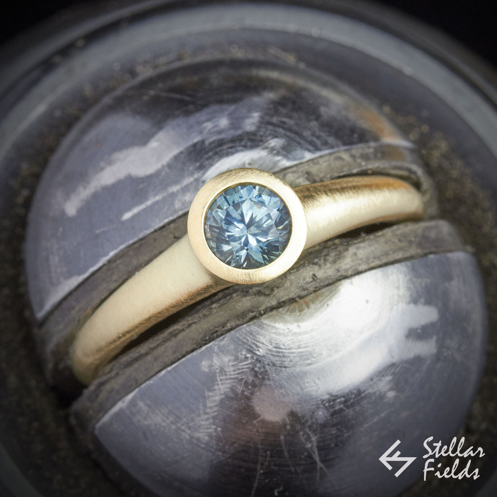 Sapphire Round Bezel Engagement Ring 14k Yellow Gold