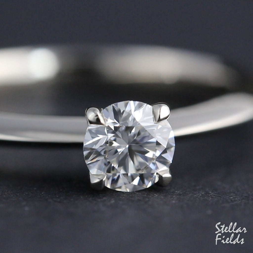 Solitaire Lab Diamond Prong Ring Tailored Handmade  Stellar Fields