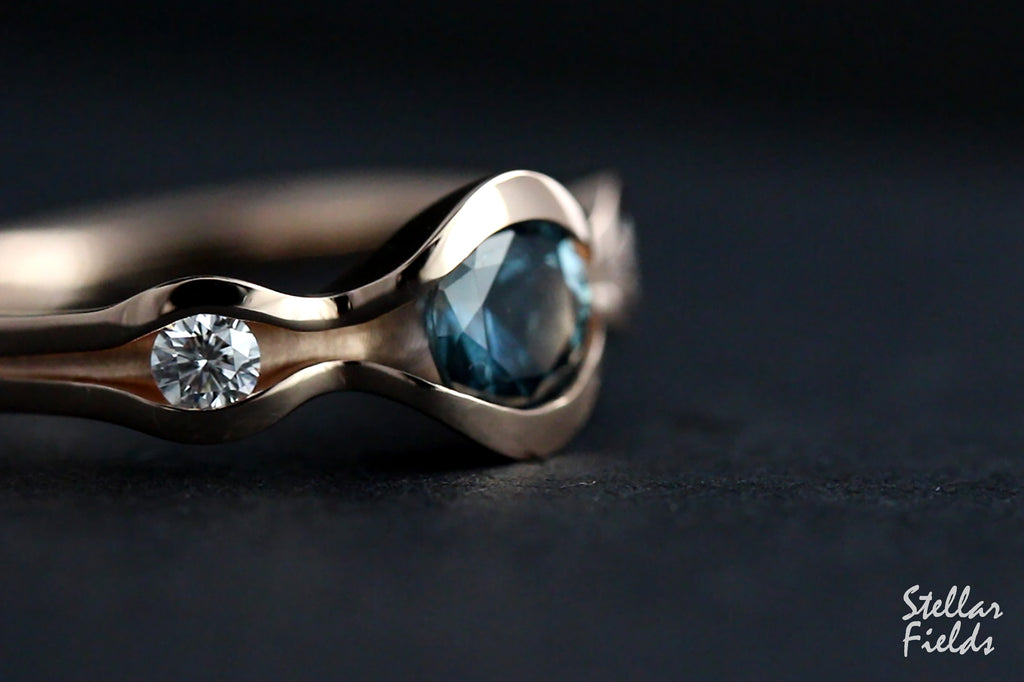 Teal Blue Montana Sapphire Wave Engagement Ring 14k rose gold