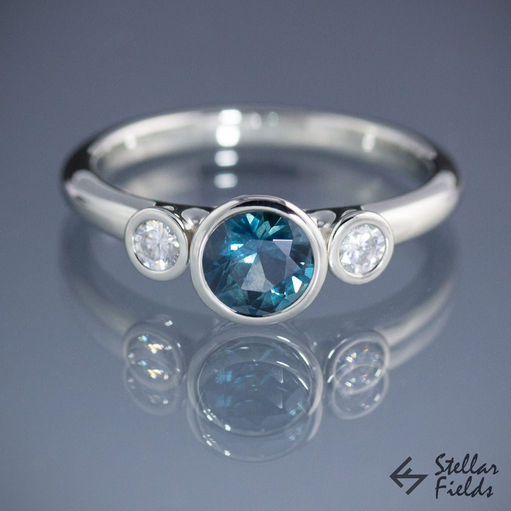 Teal Montana Sapphire with Diamonds Bezel Engagement Ring Three Stone Ring 18k White Gold Platinum Stellar Fields Jewelry