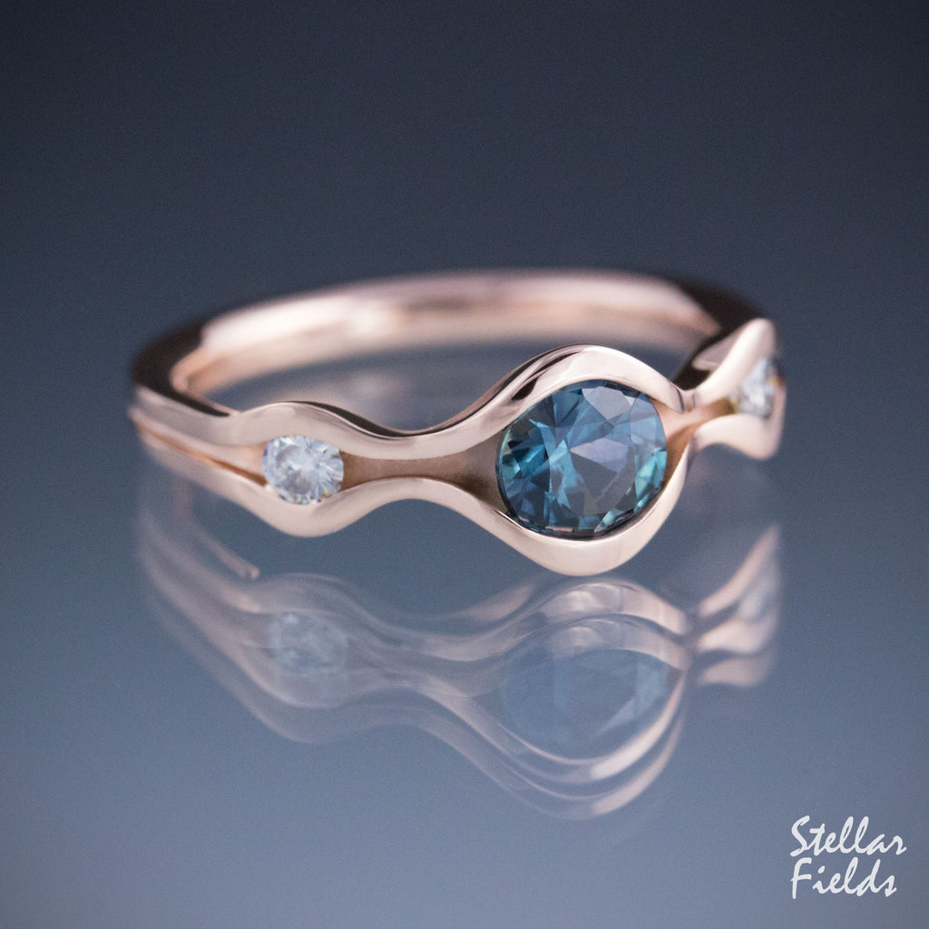 Teal Sapphire Wave Ring Three Stone Engagement Ring Rose Gold Stellar Fields