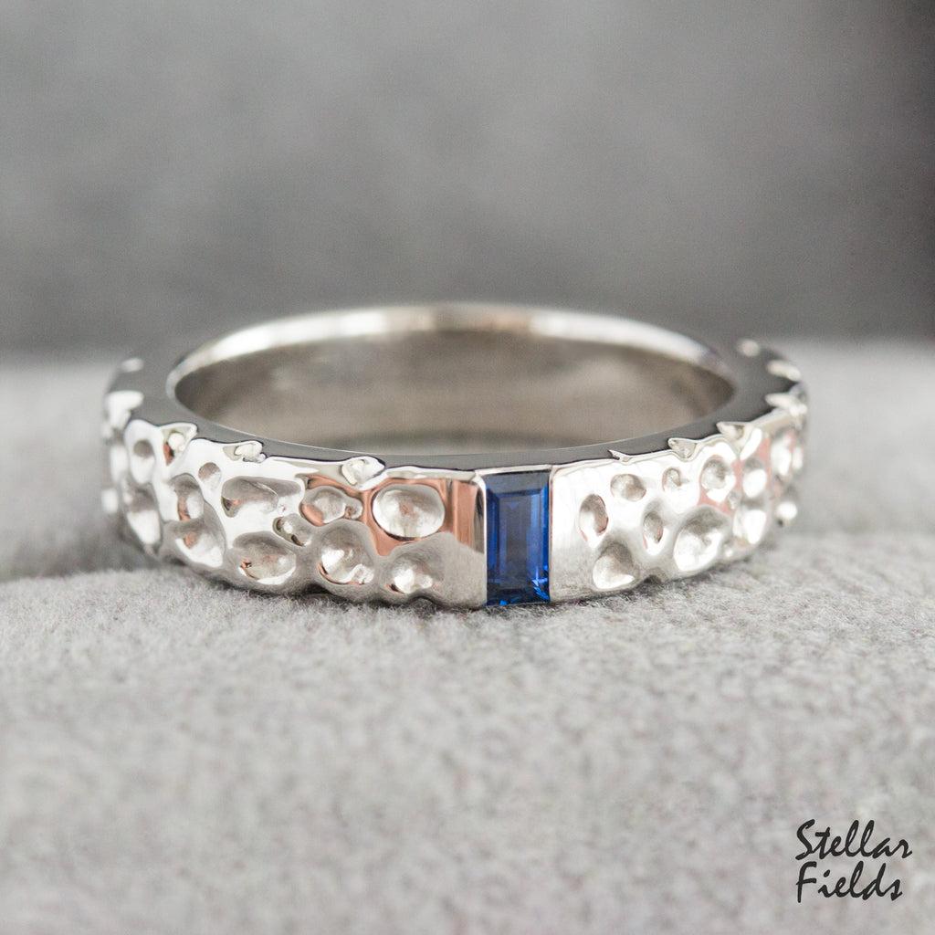 Textured Wedding Band Blue Baguette Sapphire Wedding Ring Stellar Fields
