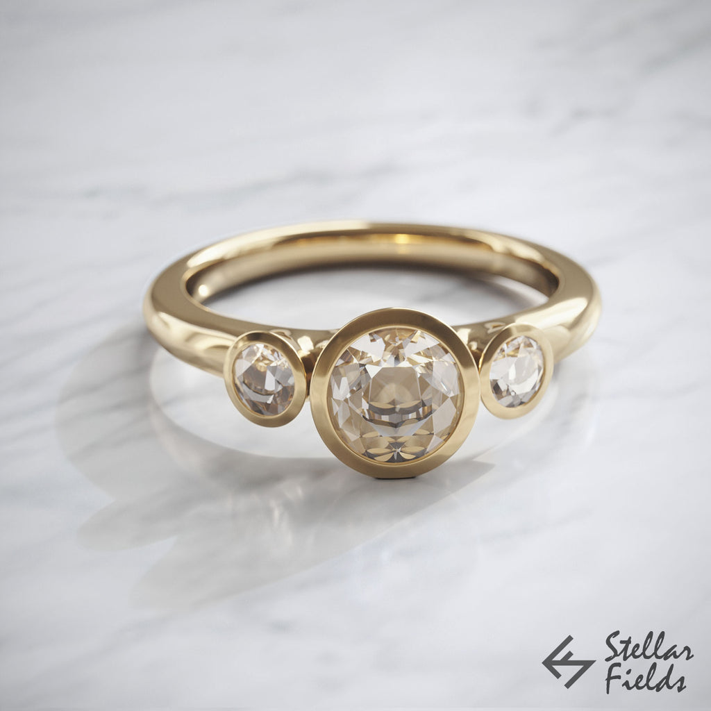 Three Stone Bezel Engagement Ring Moissanite & Diamonds 14k Yellow Gold Stellar Fields Jewelry