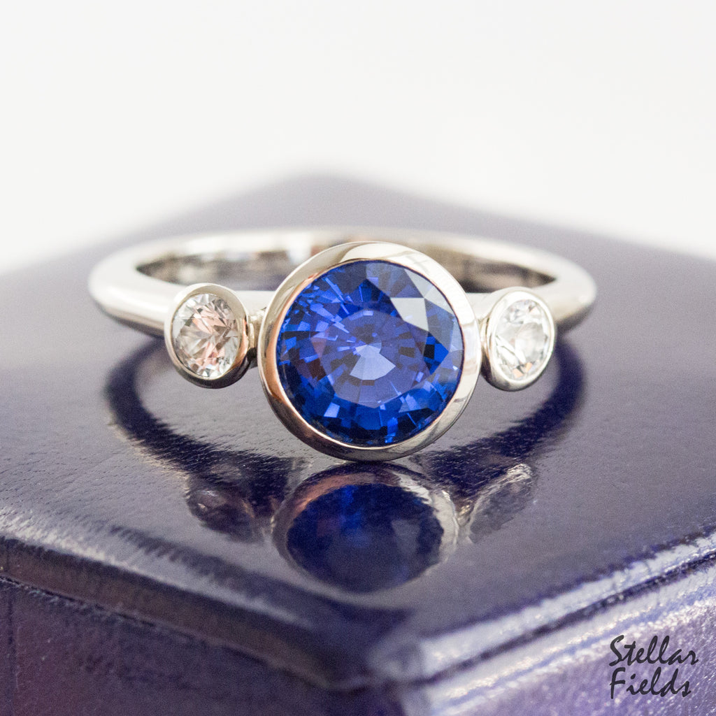 Three Stone Bezel Engagement Ring Cornflower Blue Chatham Sapphire Ethical Alternative Modern Multi Stone Ring