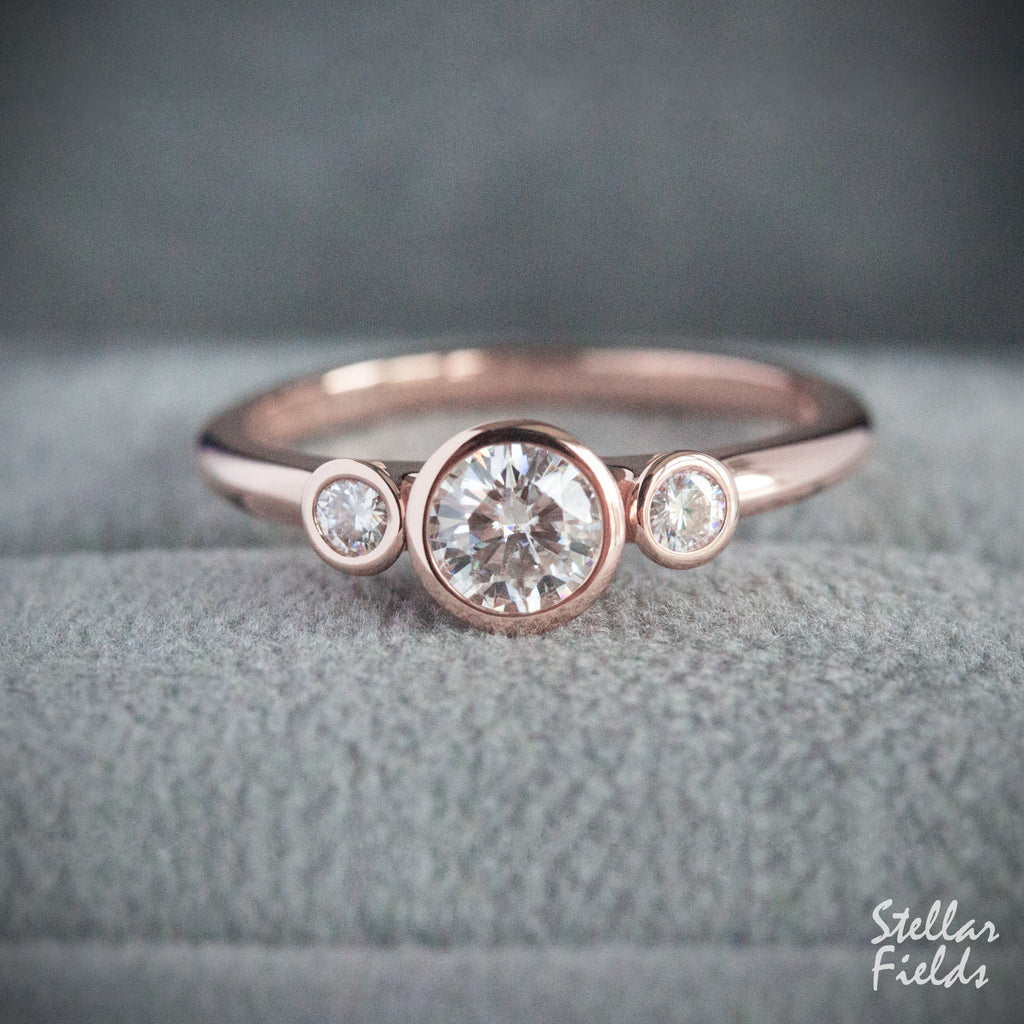 Three Stone Minimal Engagement Ring Modern Moissanite Diamonds 14k Rose Gold Stellar Fields Jewelry