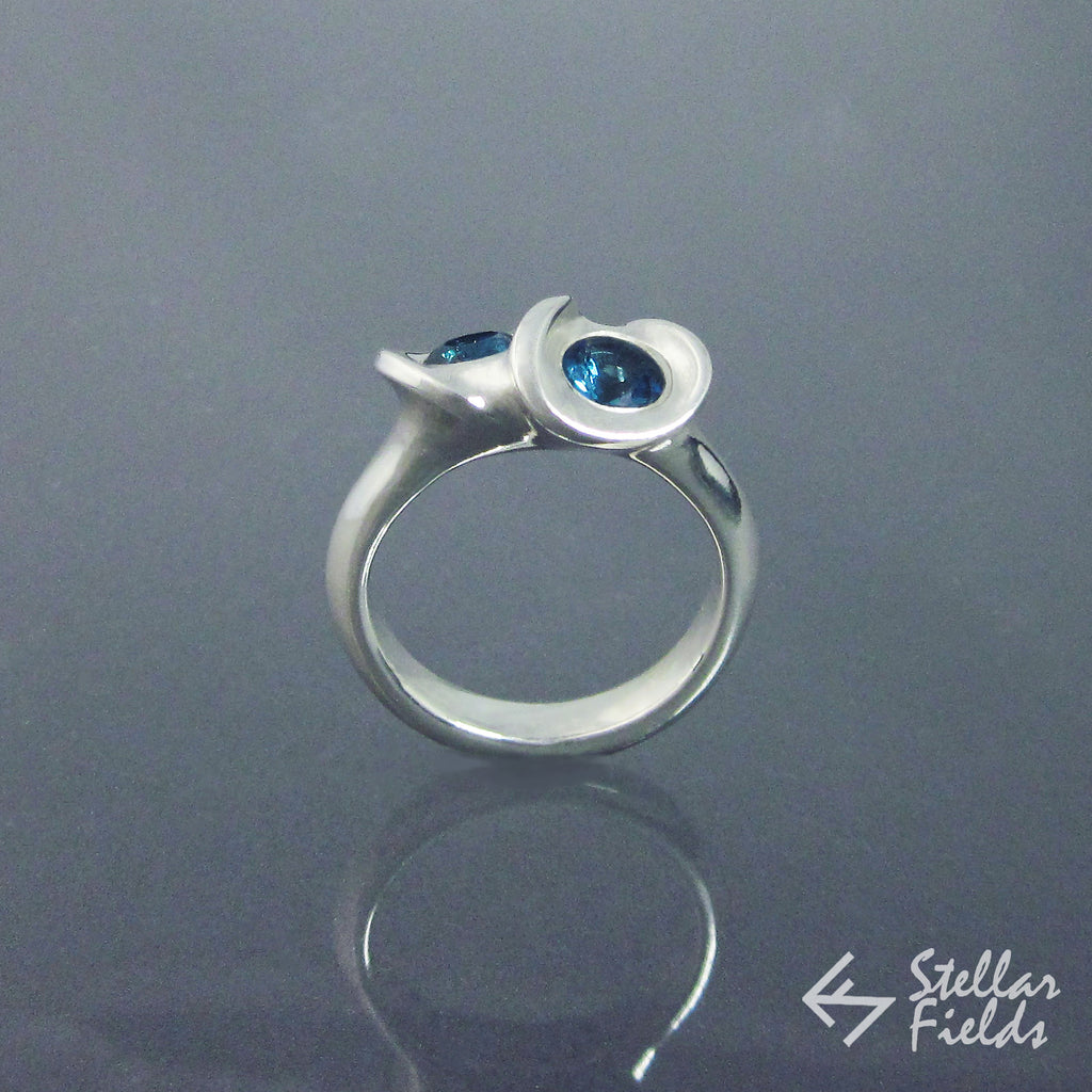 Two Stone Mobius Infinity Ring London Blue Topaz - Stellar Fields