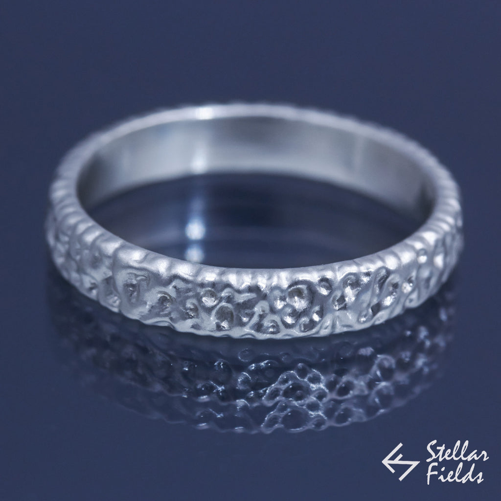 Unique One-of-a-kind Modern Textured Wedding Ring Band Stacking Ring Sterling Silver 14k White Gold Platinum