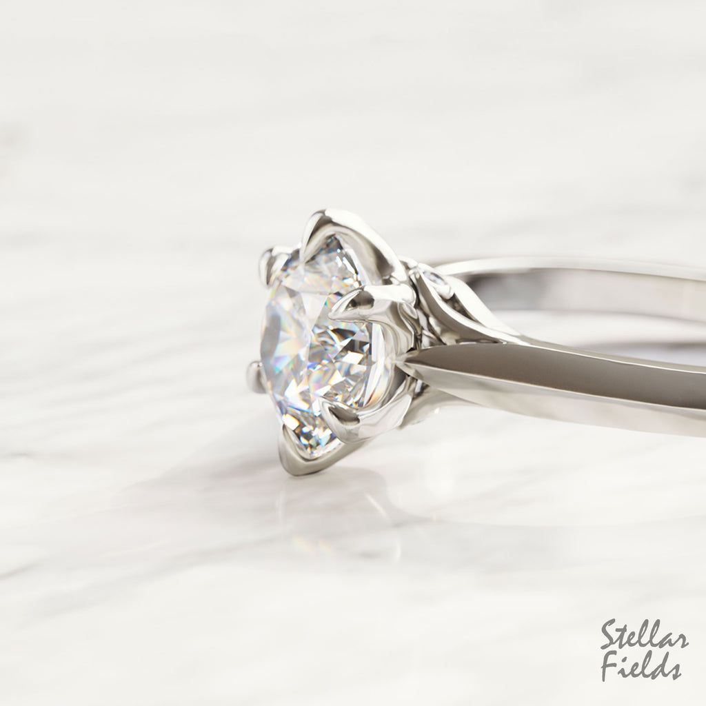 Versailles Solitaire Engagement Ring Unique Prong Ring 14k White Gold Stellar Fields