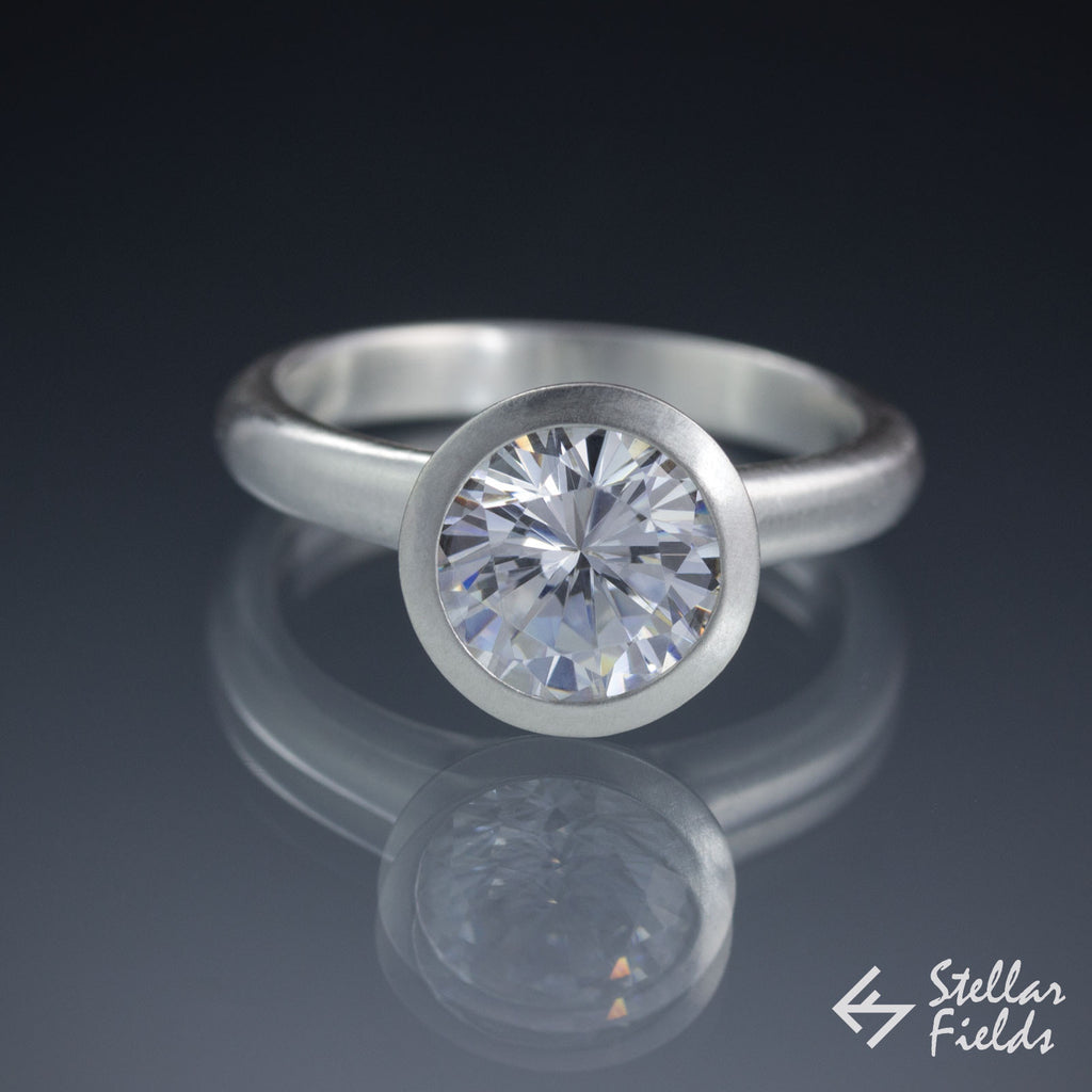 moissanite bezel engagement ring 2 carat platinum stellarfields