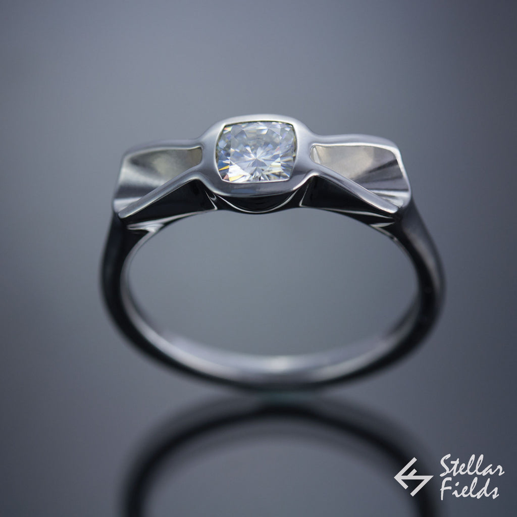unique bow tie ring 14k white gold with cushion moissanite stellar fields jewelry