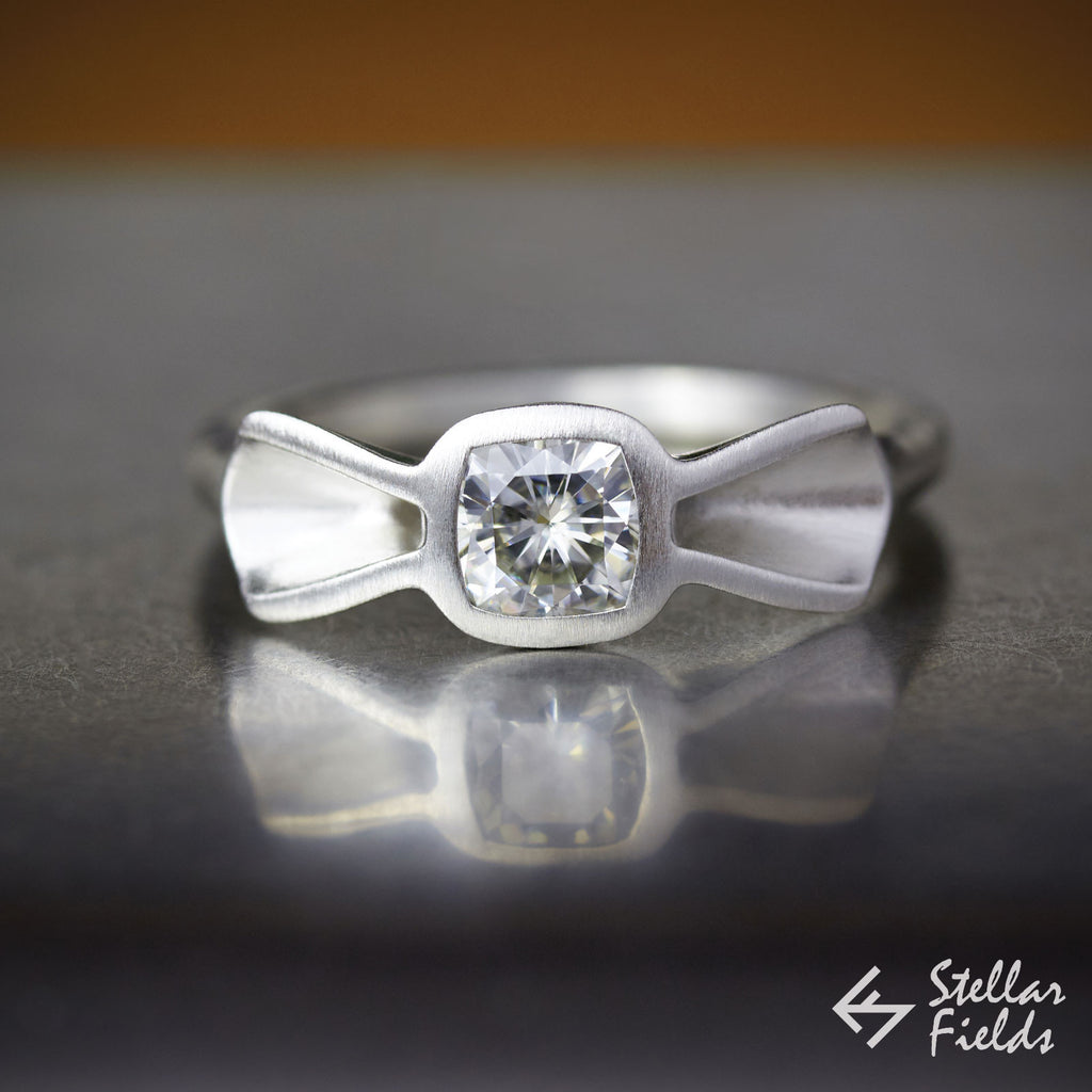 cushion moissanite bow ring 14k white gold platinum stellarfields