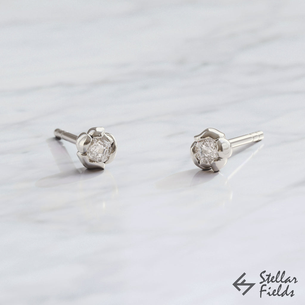 diamond earrings studs elegant tiny dainty modern unique 14k white Gold platinum Stellar Fields Jewelry