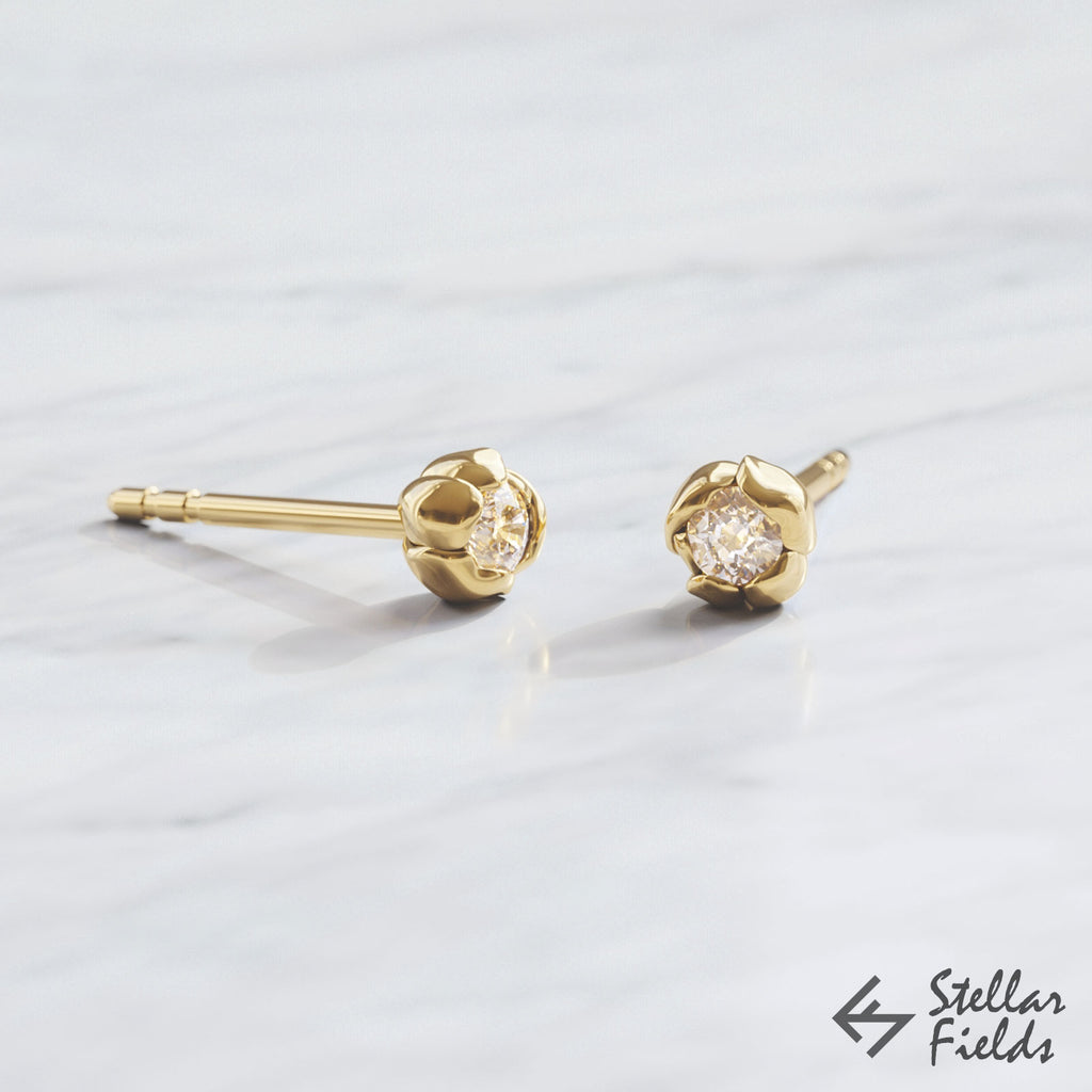diamond rose flower earrings studs 14k yellow Gold Stellar Fields Jewelry