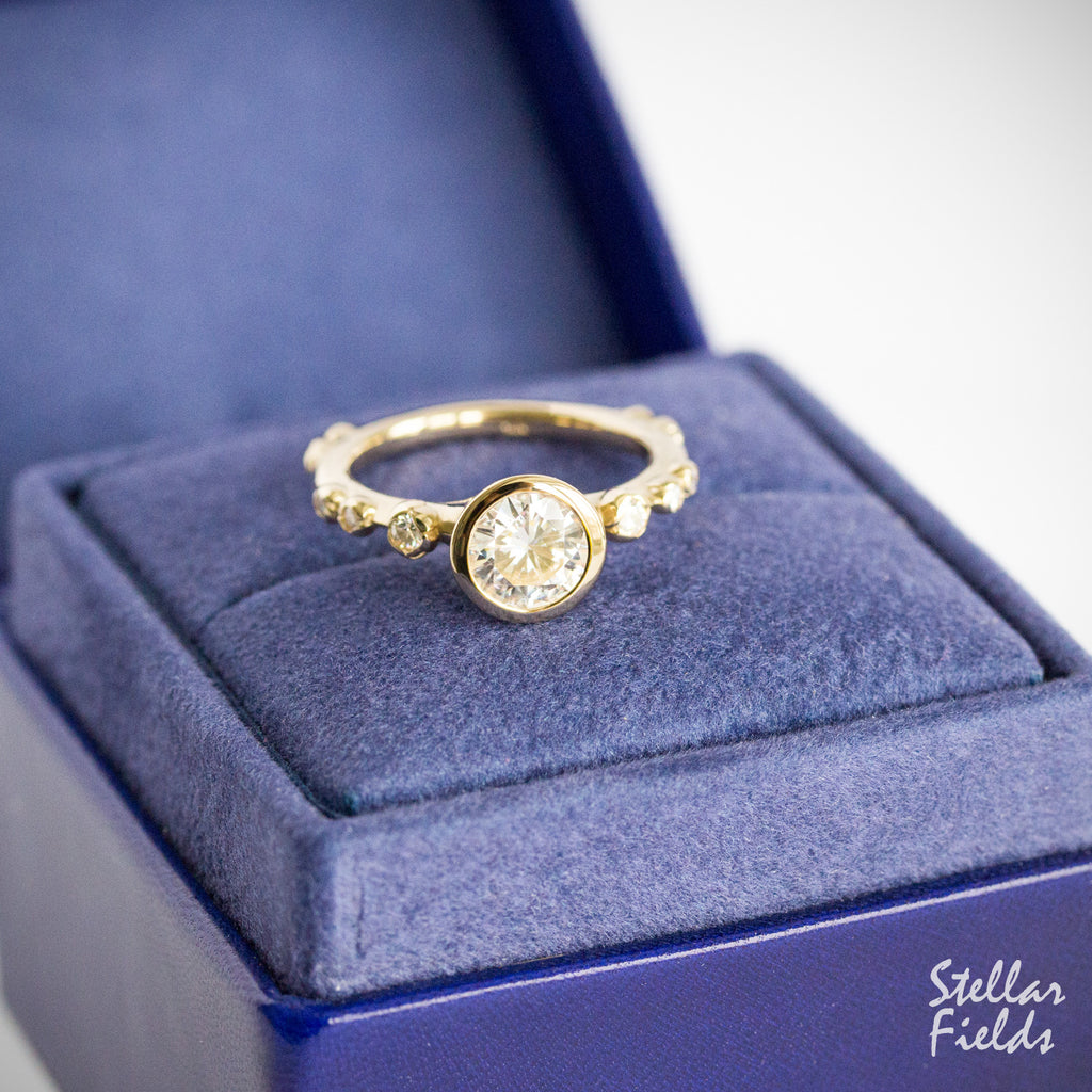 floral bezel engagement ring flower Peekaboo ring diamond engagement ring 14k Yellow Gold Stellar Fields Jewelry
