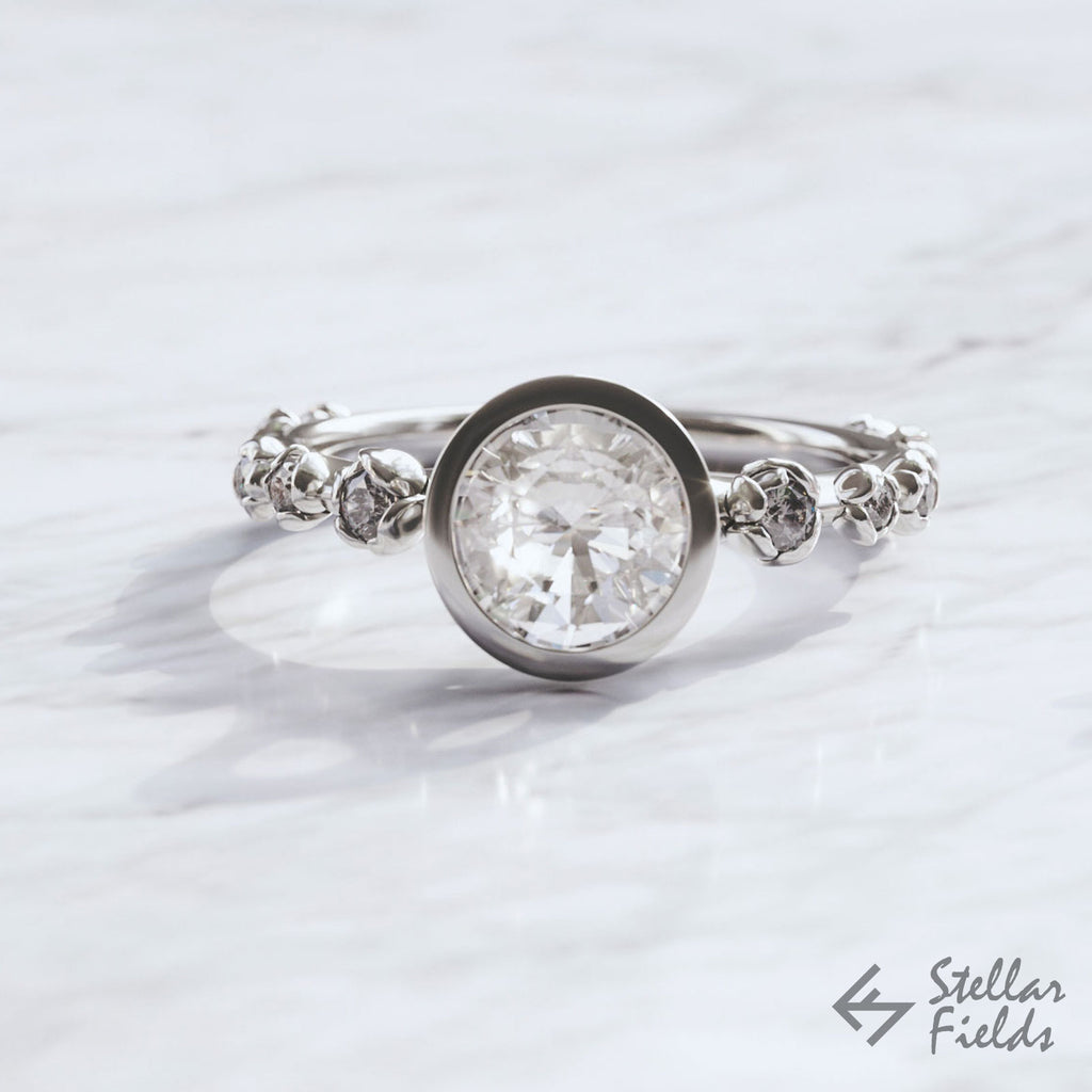 floral bezel engagement ring moissanite diamonds platinum white gold Stellar Fields