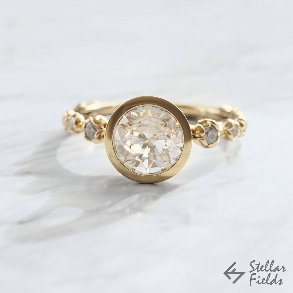 flower bezel ring Peekaboo bezel engagement ring 14k Gold Stellar Fields Jewelry