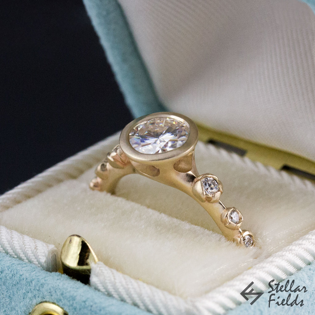 flower engagement ring floral bezel engagement ring unique vintage 14k gold stellar fields