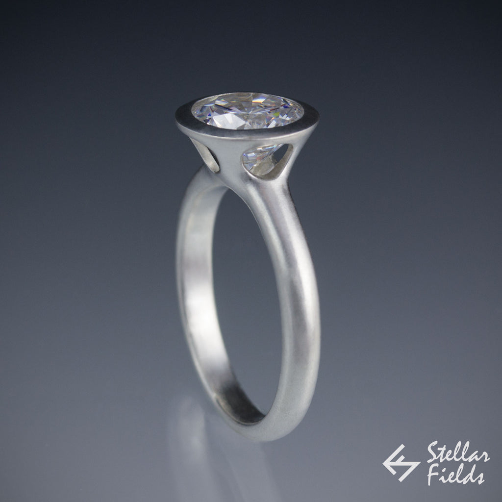 modern bezel engagement ring 2ct 8mm peekaboo bezel ring platinum stellar fields jewelry