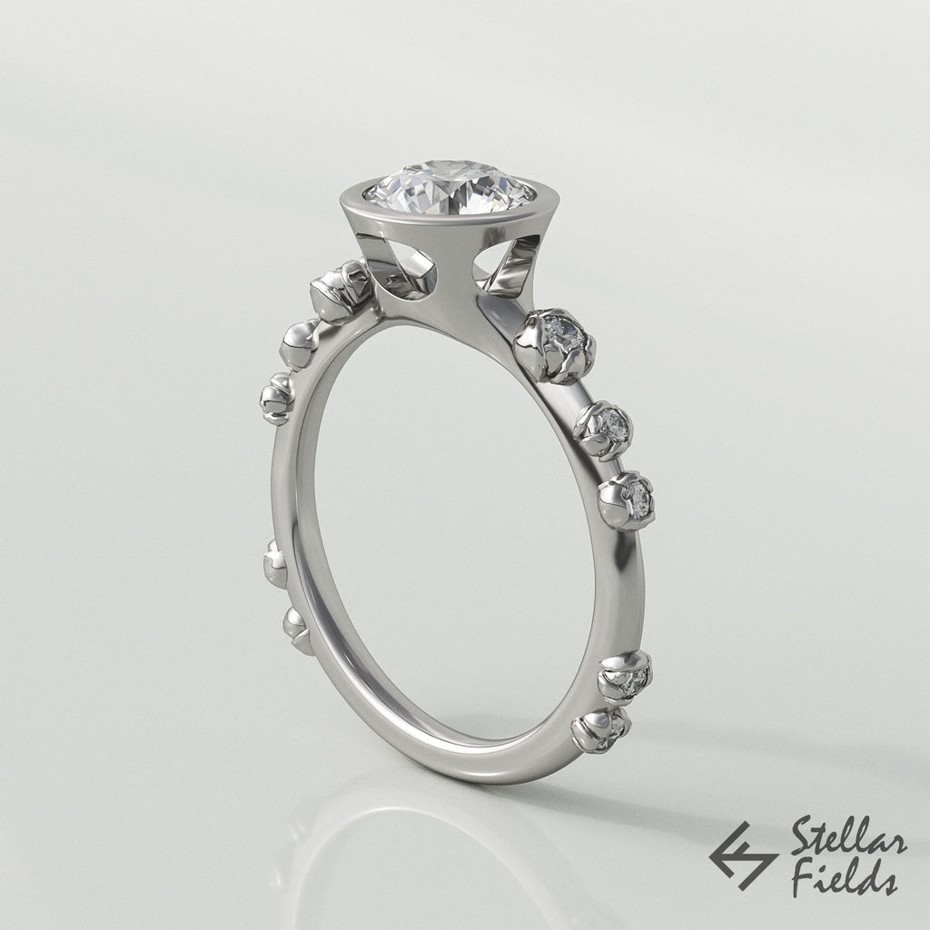 modern moissanite engagement ring white gold Stellar Fields